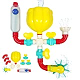 Bubble Bee Bath Toys - 11 Piece Bath Toy Set, STEM Toys with Pipes N Valves, Shower, Water Wheel, Knobs, Ball and Tube - Bathtub Toys for 3 Year Old, 4, 5, 6, 7 Boys and Girls Mold Free Bath Toys