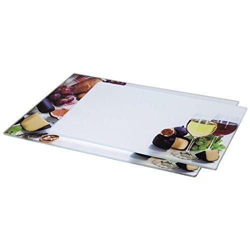 Xavax 00111537 Juego de Tabla para Cortar de Cristal 2 de Vino - 30 x 20 cm - 35 cm x 25 cm