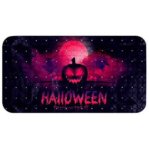 LEVEIS Non Slip Bathtub Mat Halloween Bloody Moon with Pumpkin Witch Zombie Hand Silhouettes Prints PVC Shower Mats with…