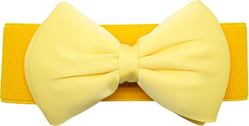 Meta-U Women Flower Elastic Wide Waist Belt (yellow bow)