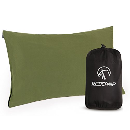 REDCAMP Small Peach Skin Camping Pillow with Removable Cover 50x30cm, Lightweight Compact Portable Micro Washable Travel Pillow for Outdoor Hiking Backpacking, Army Green