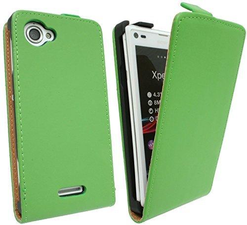 ENERGMiX Handytasche Flip Style kompatibel mit Sony Xperia L (S36H) in Grün Klapptasche Hülle