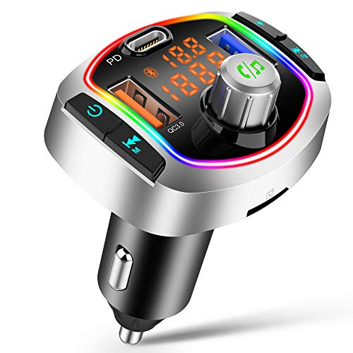 Transmisor FM Bluetooth V5.0, 3 USB QC3.0 PD18W Carga Rápida Manos Libres Coche, 【RGB 8 Colores Luz de Anillo】 Bluetooth Coche, Reproductor MP3 Coche Soporte Tarjeta TF 64 G y Disco U(Plata)