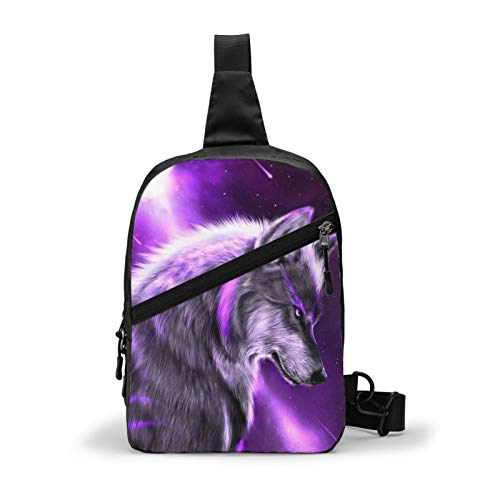Casual Sling Backpack, Rope Bag, Blue Universe Galaxy Magic Wolf In The Space Shoulder Crossbody Bag Chest Pack, Bookbag, Gym Bags Sack Daypack Outdoor Backpack for Man Women Lady Girl Teens