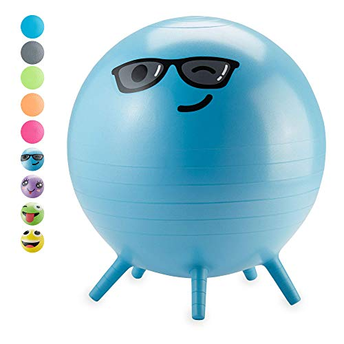 Gaiam Kids Stay-N-Play Children's Balance Ball - Flexible School Chair Active Classroom Desk Alternative Seating | Built-In Stay-Put Soft Stability Legs, Includes Air Pump, 45cm, Blue Captain Cool