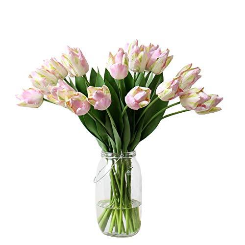 Calcifer Lot de 12 Fleurs artificielles en polyuréthane pour Perroquet Motif Tulipes 53 cm