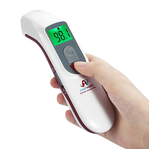 Amplim Hospital Medical Grade No Touch Non Contact Digital Infrared Temporal Forehead Thermometer for Adult/Baby/Kid/Toddler/Infant/ Nurse. Best for Head Fever Temperatures Termometro - Red