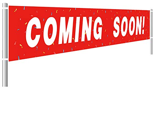 Large Coming Soon Banner, Business Sign Banner, New Store Advertising Marketing Flag (9.8 x 1.5 feet)