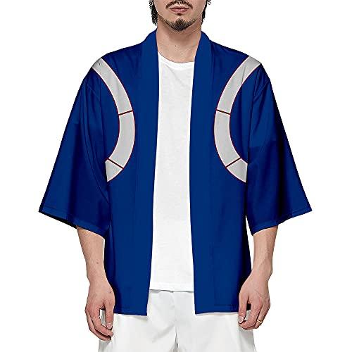 My Hero Academia Kimono Anime Cosplay Hombre Mujer Cárdigan Moda Imprimir Abrigo Unisex Verano Streetwear Azul Marino XL