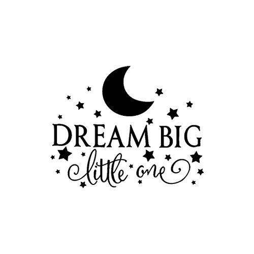 Trada Adhesivo decorativo para pared, diseño de Dream Big desmontable, vinilo decorativo para el hogar o el dormitorio Negro M