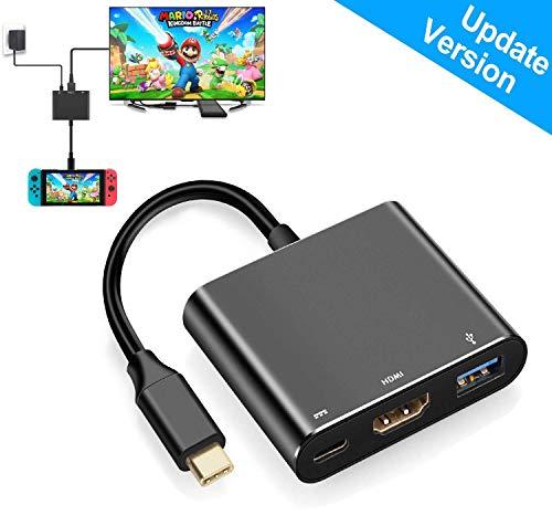 HDMI-Adapter für Nintendo Switch, 1080p, HDMI-Konverter, Typ C, Hub Dock für Switch, Schwarz