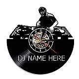 Mezclador de DJ Reloj de Pared Moderno Personalizado tu Nombre Disco de Vinilo Reloj de Pared Rock N...