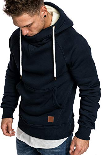 Amaci&Sons Herren Turtle-Neck Kapuzenpullover Sweatjacke Pullover Hoodie Sweatshirt 4025 Navyblau XXL