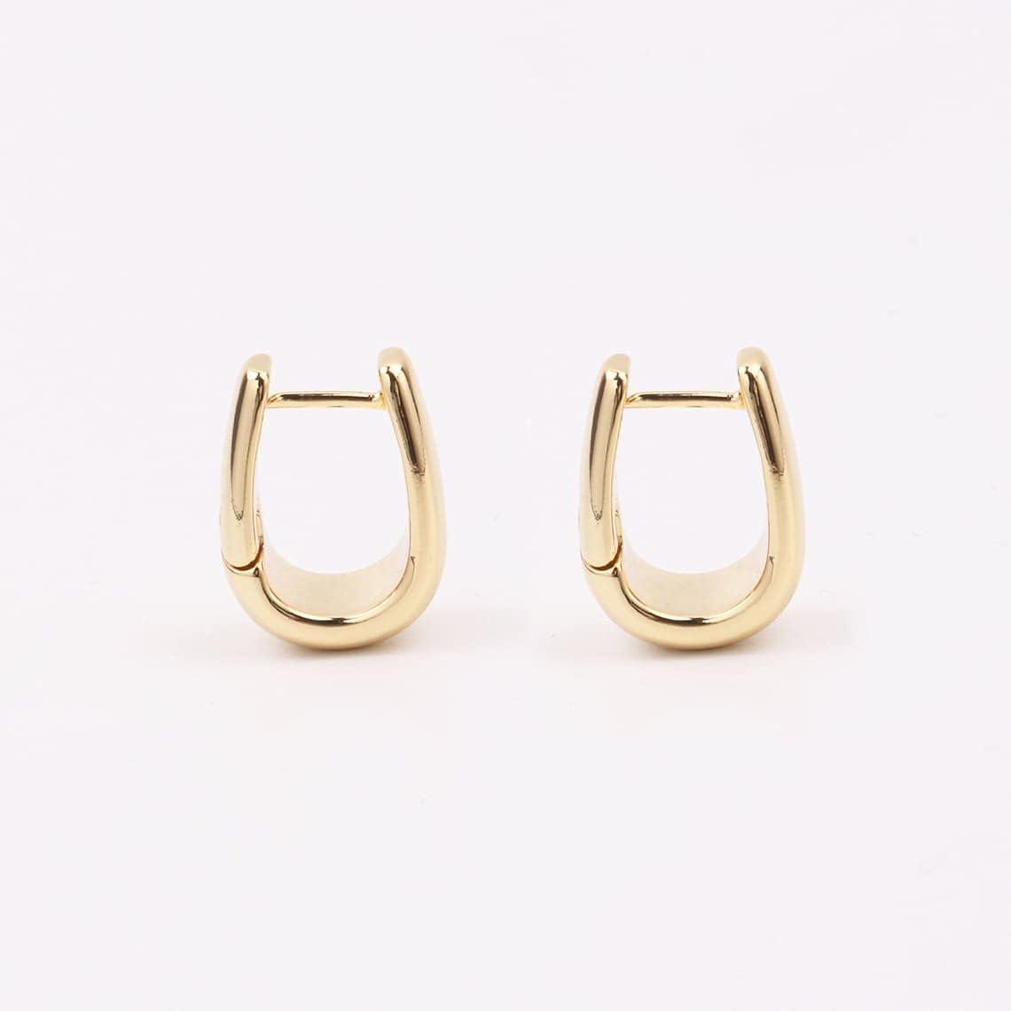 Custom Handmade 1 Pair Delicate 22.9mm 18kt Gold Filled Chunky Minimal Round Ball Beads C Type Hoop Earrings Wholesale Bulk Factory Supply