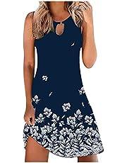 Sukienka damska do kolan, damska sukienka plażowa, luźna, minisukienka plażowa, bez rękawów, długość do kolan, letnia sukienka w stylu boho, sukienka na co dzień