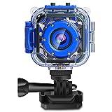 PROGRACE Children Kids Camera Waterproof Digital Video HD Action Camera 1080P Sports Camera Camcorder DV for Boys Birthday Learn Camera Toy 1.77'' LCD Screen (Navy Blue)