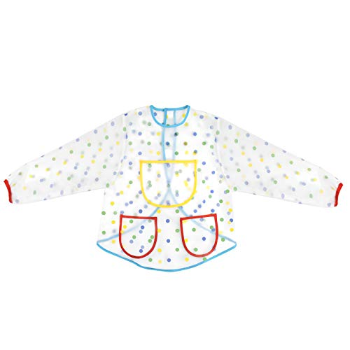 Jinlaili Delantal Infantil Pintura, 2-7 Años Impermeable Delantales de Niño, Bata Impermeable Niño, Delantales de Niño Bebe, Blusón Babero con Bolsillos De Manga 3 Larga para Dibujar de Arte Escolar