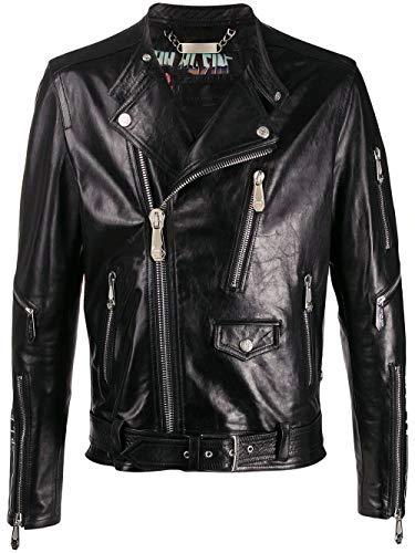 Philipp Plein Luxury Fashion Herren S20CMLB1087PLE010N02 Schwarz Leder Jacke | Frühling Sommer 20