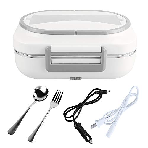 LOHOME Electric Heating Lunch Box Car Home Office Use Food Warmer Portable Bento Meal Heater with Stainless Steel Container 110V and 12V Dual Use (Grey)