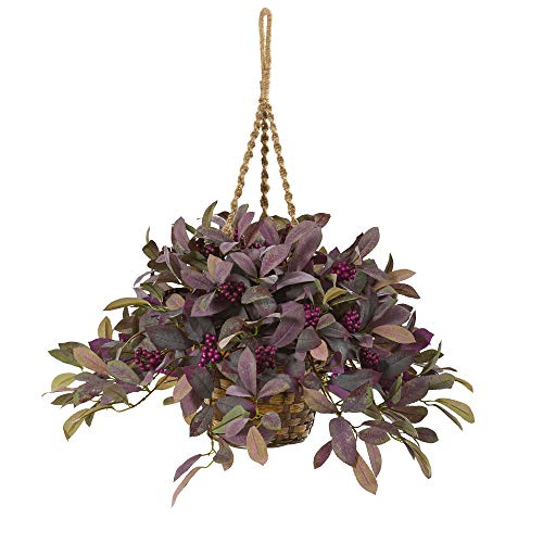 Nearly Natural 28in. Fall Laurel Leaf with Berries Artificial Hanging Basket Silk Plants, Lavender