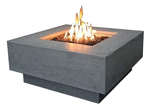 Kaminlicht Gas-Feuertisch Raung aus Faserbeton, Garten Terrasse, Quadratisch