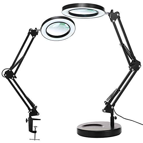 Magnifying Glass with Light and Stand, KIRKAS 2-in-1 Stepless Dimmable LED Magnifying desk Lamp with Clamp, 3 Color Modes Lighted Magnifier Lens Swivel Arm Light for Reading, Craft, Close Works -Black
