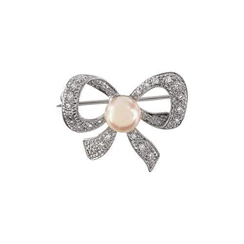 Too Marvellous - Broche de Oro Blanco de 9 Quilates con Perlas de Akoya cultivadas con Diamante