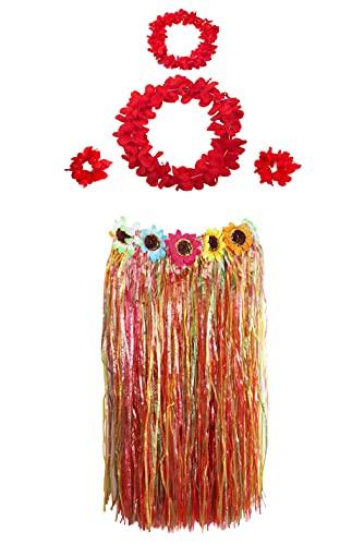 Carnavalife Falda Hawaiana con Collar Pulseras y Diadema de Flores, Disfraces Guirnalda con Elástica para Niñas Mujer Adultos,Pack de 5 piezas (multi color(60cm))