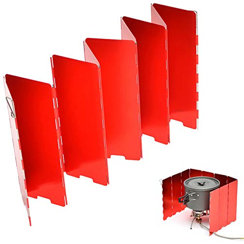 OLT-EU Camping Herd Windschutzscheibe, 10 Platten Faltbarer Kochgas Windschutz Oxidationsbeschichtung mit Aufbewahrungsbox für Camping Gasherd/Alkoholherd/Picknicks Freien/BBQ (Rot)