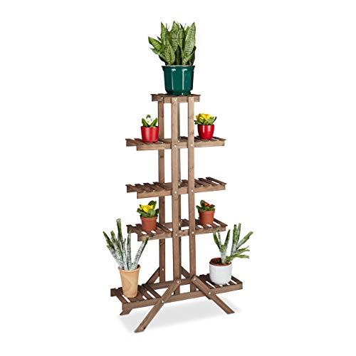 Relaxdays Blumentreppe 5 Ebenen, Aus Holz, Blumenständer für Innen, Mehrstöckig, HBT: 142,5 x 83 x 28,5 cm, dunkelbraun