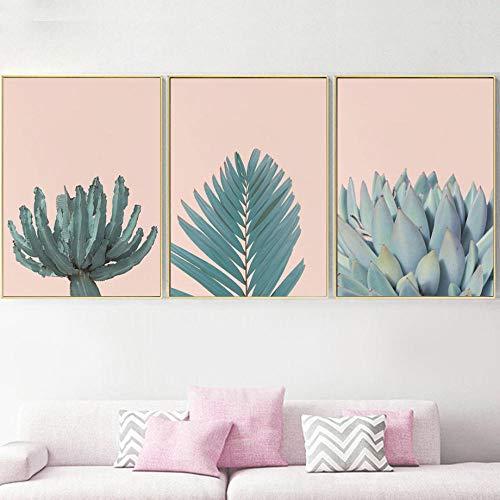 Plantas suculentas frescas Cactus Hoja de palma Arte de la pared Pintura en lienzo Carteles nórdicos e impresiones Imágenes de pared para sala de estar-50X70X3 Pcs Sin marco