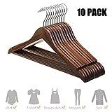 Kleiderbügel aus Holz drehbare Jackenbügel Vintage Anzugbügel Wäschebügel 10 STK. - dunkel