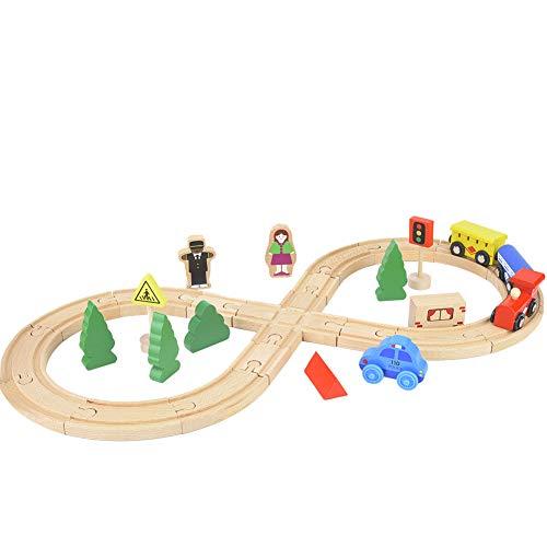 Pssopp Riel de Madera, Tren, Tren, Figura de Hadas de Madera, vías de Tren, Juguete de Madera para niños, Juego de Tren de Ciudad de Hadas de Madera, Tren, Juguete Inteligente para niños
