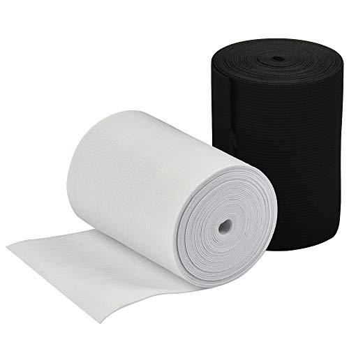 YOTINO 2 paquetes de bandas elásticas anchas de cinta de coser, cordón elástico plano, incluye 1 paquete de cinta elástica blanca y 1 paquete de carrete de banda elástica negra, 4 m x 10 cm