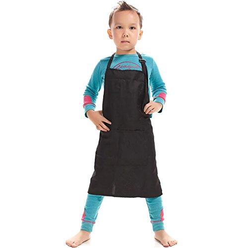 LissomPlume Kind Malschürze Kunstkittel Kinderschürze Arbeitsschürze Painting Bastelschürze Werkenschürze - schwarz