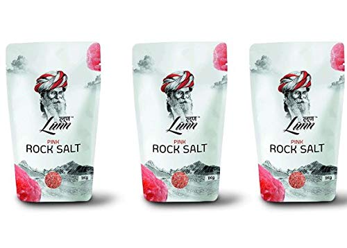 LUNN Combo Of Natural Fine Grain Himalayan Pink Rock Salt (Sendha Namak) | Pack of 3 (1 Kg Each) | Specialized Combo for Gourmet Food Preparation | Rich in Mineral | Mild Salt | No Preservatives | Non GMO