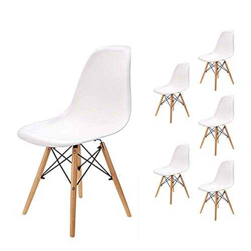 EGNM Pack 6 sillas de Comedor Blanca Silla diseño nórdico Estilo 82 x 47 x 53 cm (Blanco-6)