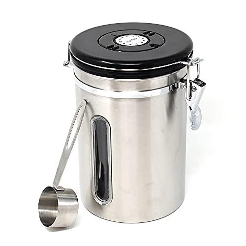 Bote cafe de acero inoxidable de primera calidad   Bote para guardar cafe, bote cafe hermetico plateado   Botes de café con cucharas medidoras que mantienen el café fresco