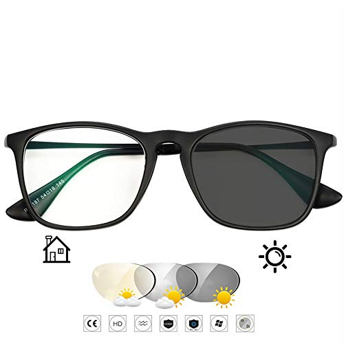 Qwerty Transition Photochrome Lesebrille für Frauen Männer Asphärisches Hartharz Outdoor-Leser Pilotenbrille für UV400 / Blendschutz/in Lesevergrößerung 1,00 bis 3,00 Stärke,Schwarz,+2.0