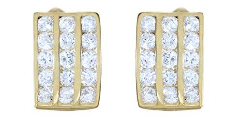 Hobra-Gold Pendientes anchos oro 585 circonitas blancas aros mujer 14 quilates