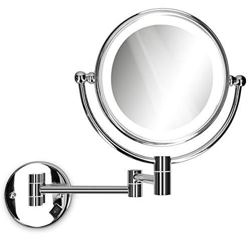 Navaris Vergrößerungsspiegel mit LED Beleuchtung Wandmontage - Spiegel 5fach Vergrößerung Kosmetikspiegel 360° drehbar - Rasierspiegel beleuchtet