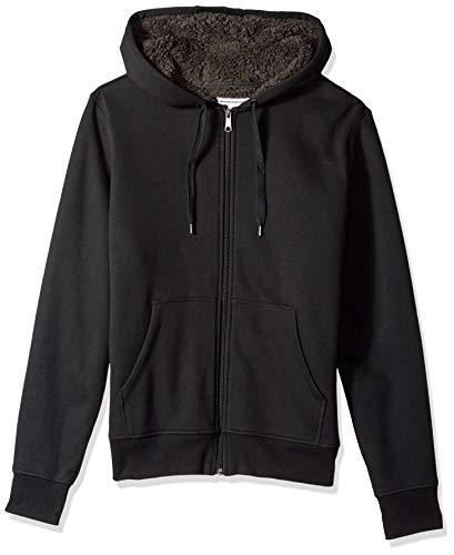 Amazon Essentials Men's Sherpa Lined Full-Zip Hooded Fleece Sweatshirt, Black, X-Large