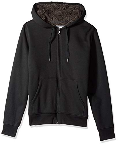 Amazon Essentials Men's Sherpa Lined Full-Zip Hooded Fleece Sweatshirt, Black, Medium
