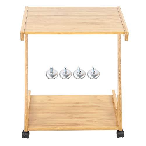 FOLOSAFENAR Mesa extraíble, Escritorio para computadora portátil, cómodo bambú de 2 Capas para Oficina para el hogar con Ruedas universales móviles