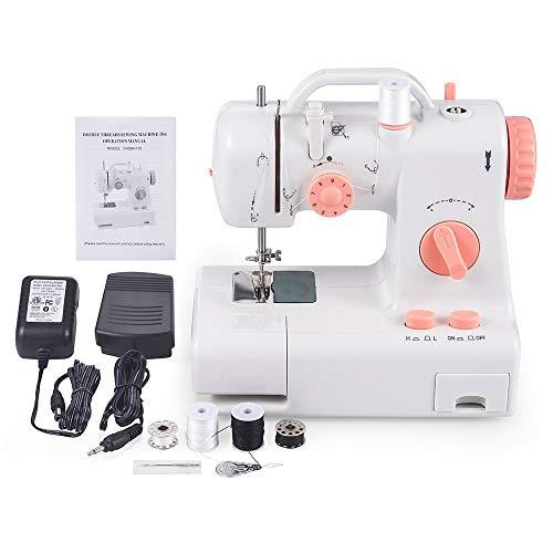 Máquina de coser portátil con lámpara de pie 12 puntadas Máquina de coser multiusos para trabajo pesado de 2 velocidades para principiantes y niños