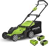 Greenworks Tools Tosaerba a Batteria G40LM41K2X 2in1 Pacciamare e Tosare Cesto 50 l Regolazione Altezza Taglio 5 Livelli, 2 Batterie 2Ah e Caricatore Rapido