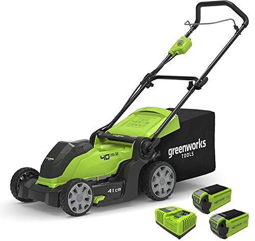 Tondeuse à gazon à batterie Greenworks G40LM41K2X (Li-Ion 40V largeur de coupe 41cm paillage & tonte 2en1 jusqu'à 600m² bac collecteur 50L 5 niveaux de coupe et 2 batteries 2Ah & chargeur rapide)