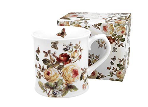 Duo Kaffeetasse Teetasse Zahra 460ml Cappuccinotasse Kaffee-Tasse Cappuccino-Tasse Porzellan Porzellantasse Kaffeebecher Kaffee-Becher Tee-Becher Porzellan-Tasse Blumenmuster Blumen Rosenmotiv