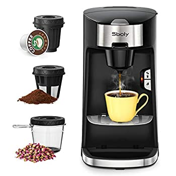 Sboly Coffee Machine 3 in 1 Tea & Coffee Maker for K Cup Ground Coffee and Tea Leaf Single Serve Coffee Maker Brewer with Self Cleaning Fast Brewing Tech