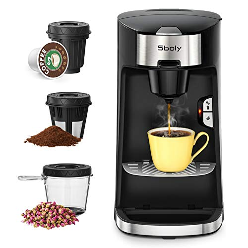 Sboly Coffee Machine 3 in 1, Tea & Coffee Maker for K Cup, Ground Coffee and Tea Leaf, Single Serve Coffee Maker Brewer with Self Cleaning, Fast Brewing Tech